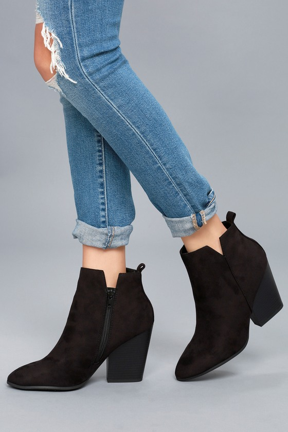 Vegan Suede Booties - Pointed Toe Boots
