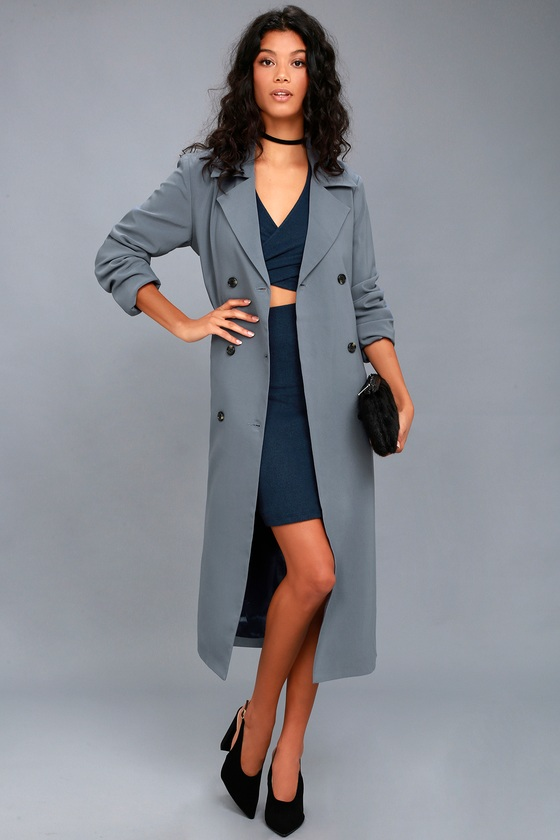 Workday Runway Slate Blue Trench Coat 1