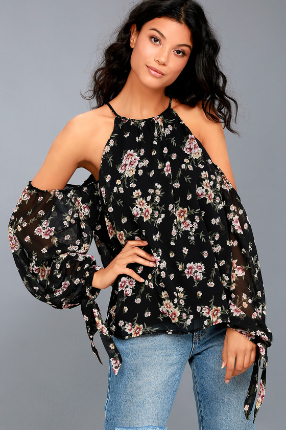 Almost Famous Black Floral Print Cold-Shoulder Top 1