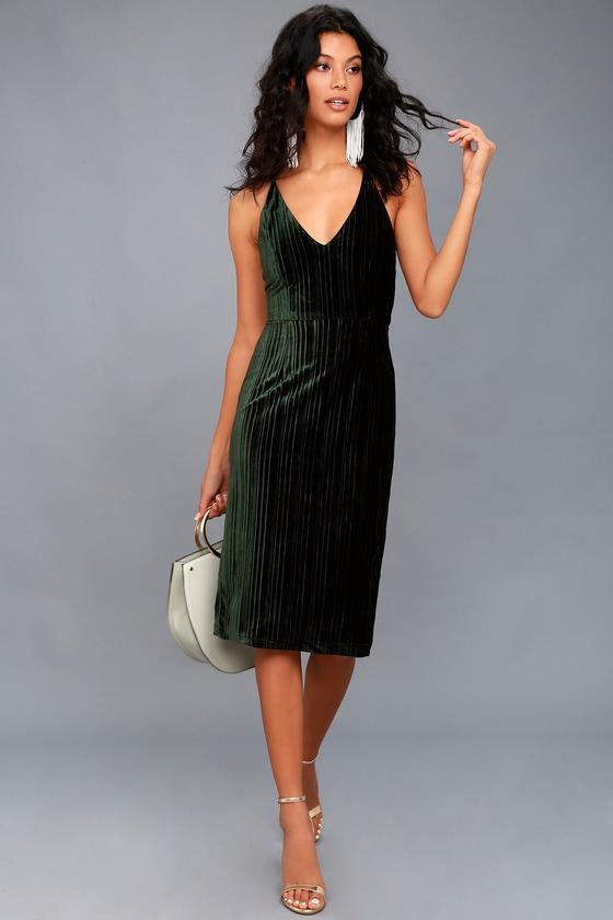 791446de8a8 Black Swan Lauren - Forest Green Velvet Bodycon Dress