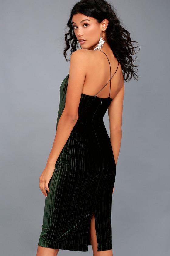 Lauren Forest Green Velvet Bodycon Midi Dress 2