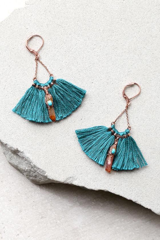 Tamara Teal Blue Tassel Earrings 1