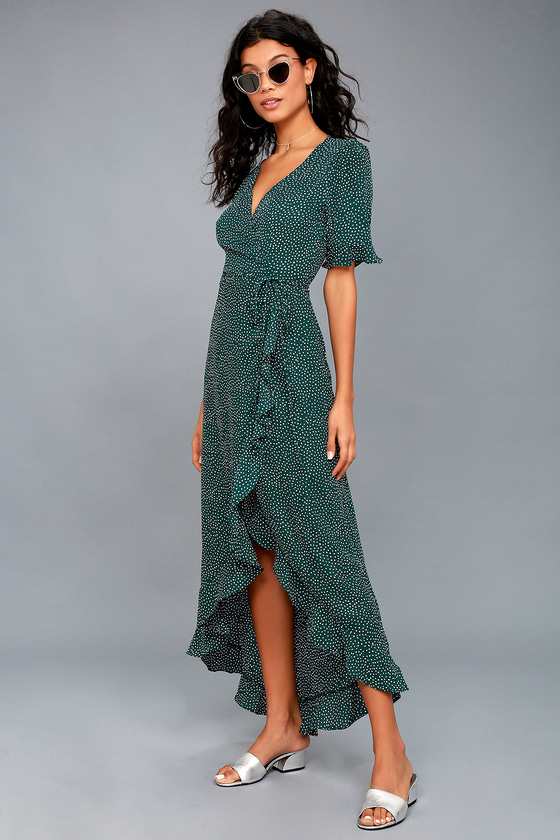 Mystified Forest Green Polka Dot High-Low Wrap Dress 3