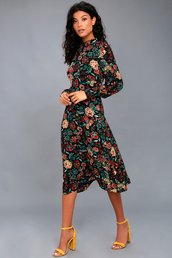 Retro Ready Black Floral Print Long Sleeve Midi Dress 2