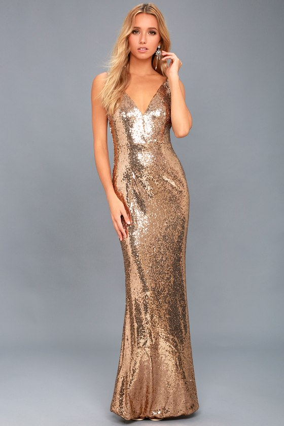 Here to Wow Gold Sequin Maxi Dress 1
