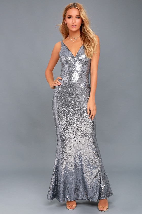 Here to Wow Gunmetal Sequin Maxi Dress 1