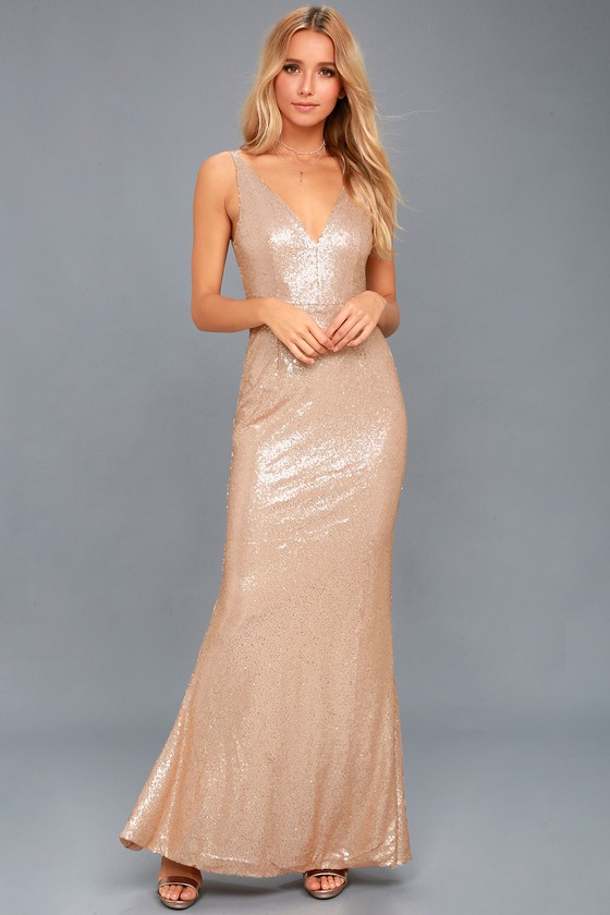 Here to Wow Matte Rose Gold Sequin Maxi Dress 1