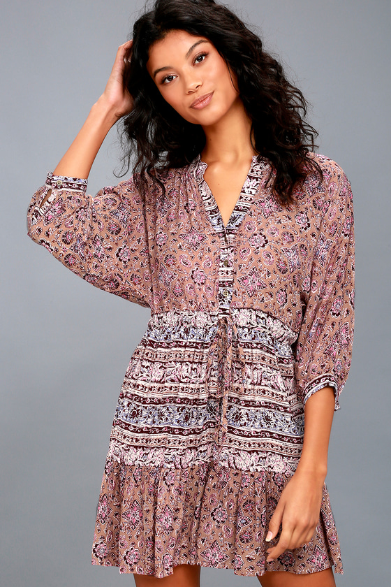 Marry Mine Taupe and Magenta Print Dress 3