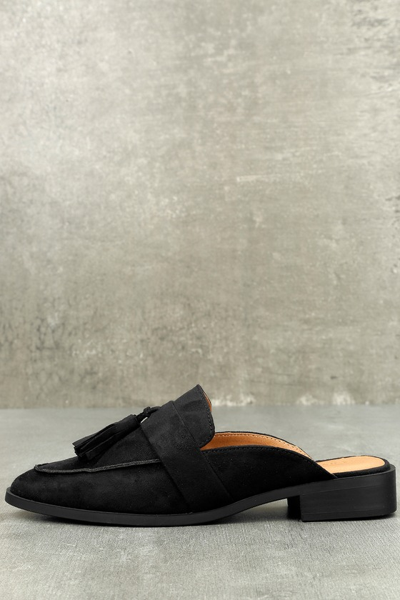 Zeva Black Suede Loafer Slides 1