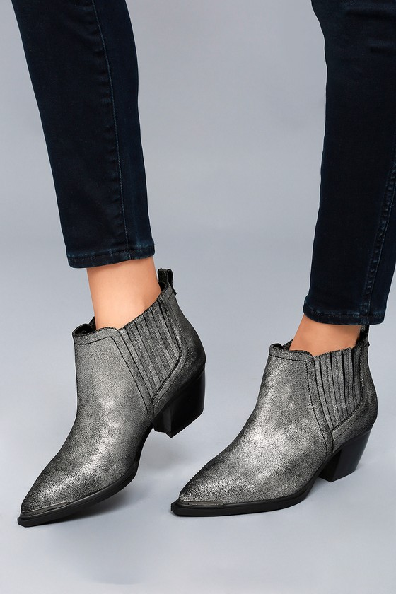 Cardinal Pewter Leather Ankle Booties 4