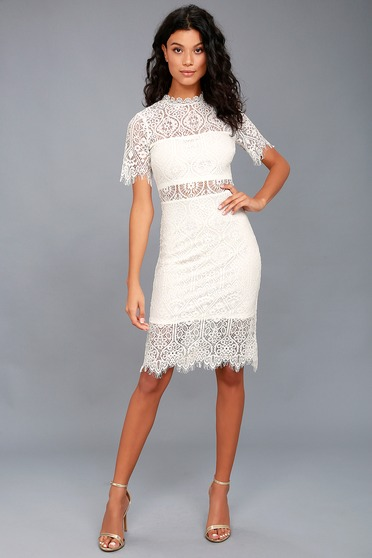 edf6d9e92caf Chic White Dress - Lace Dress - LWD - Sheath Dress