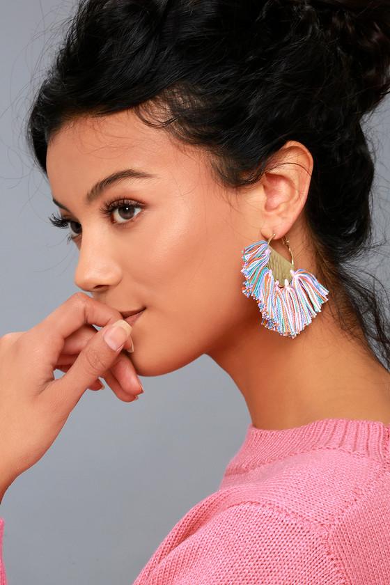 Cassandra Gold and Multi Tassel Earrings 3