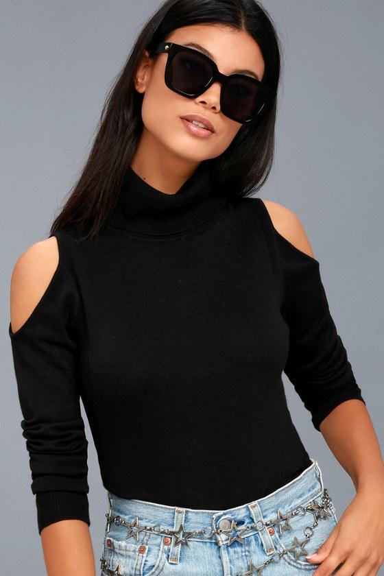 b83b95fbfdd11 Olive + Oak Nicky - Black Sweater Top - Cold-Shoulder Top