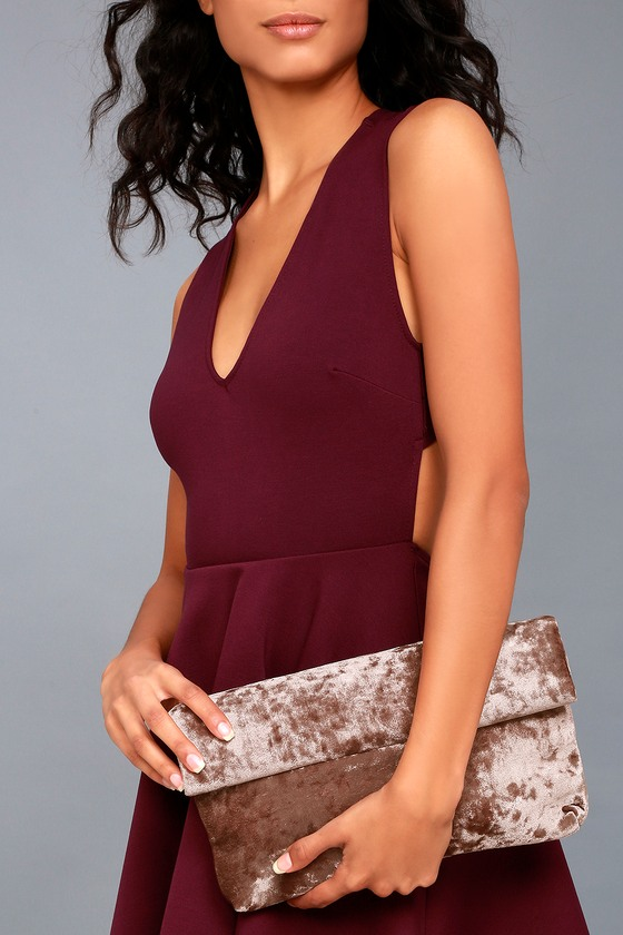 On a Roll Taupe Velvet Clutch 1