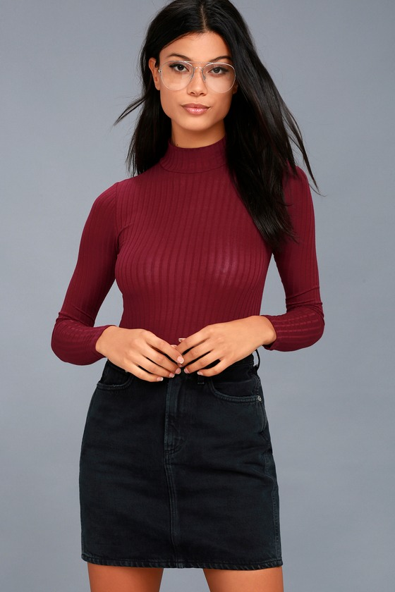 47d01759236 Cute Burgundy Top - Long Sleeve Top - Ribbed Knit Top