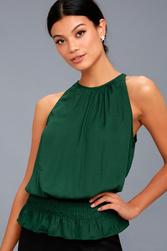 Cherished Memories Forest Green Sleeveless Top 1