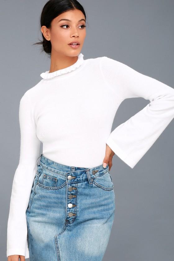 d3463f96112 EVIDNT Mock Neck Sweater - Lettuce Hem Sweater - White Top