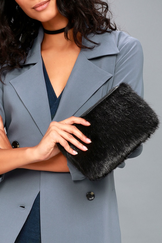 Fur is the Word Black Faux Fur Clutch 1