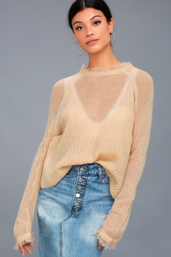 aacb34df0056 Moon River Knit Sweater - Blush Sweater - Sheer Knit Sweater