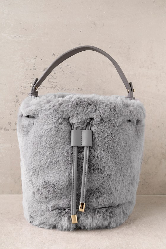 8c76381e76 Chic Grey Bucket Bag - Faux Fur Bucket Bag - Faux Fur Bag