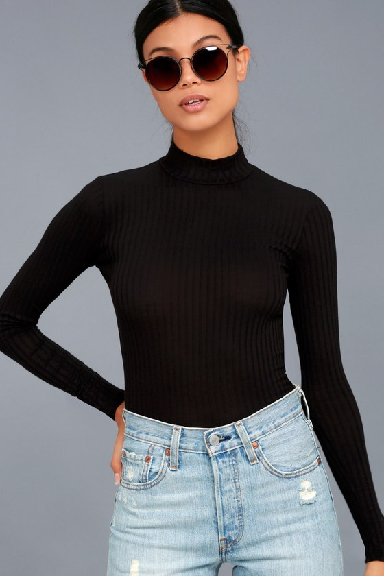 570a0c36506c0c Cute Black Top - Long Sleeve Top - Ribbed Knit Top