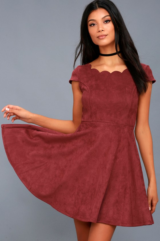 Dearest Dreams Wine Red Suede Skater Dress 4
