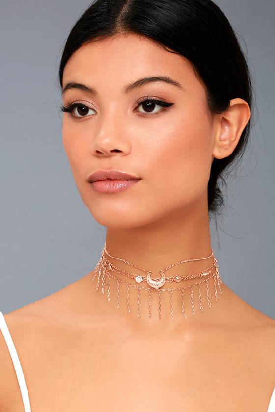 Horoscope Rose Gold Layered Choker Necklace 3