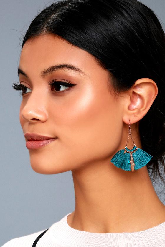 Tamara Teal Blue Tassel Earrings 3