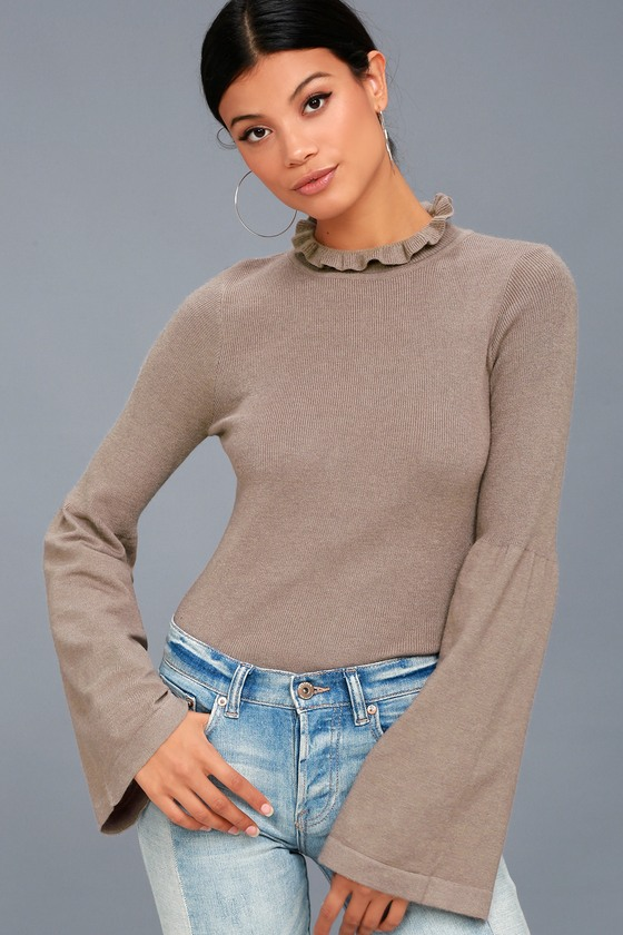 Cozy Moment Taupe Mock Neck Sweater Top 2