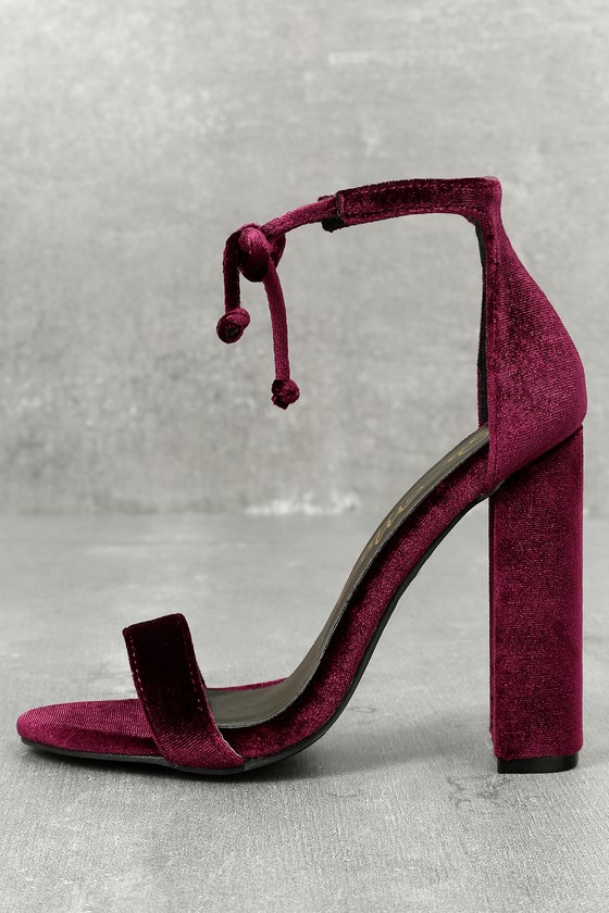 Gracie Wine Velvet Lace-Up Heels 1