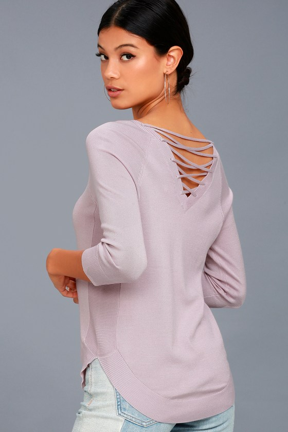 Allan Mauve Lace-Up Sweater Top 1