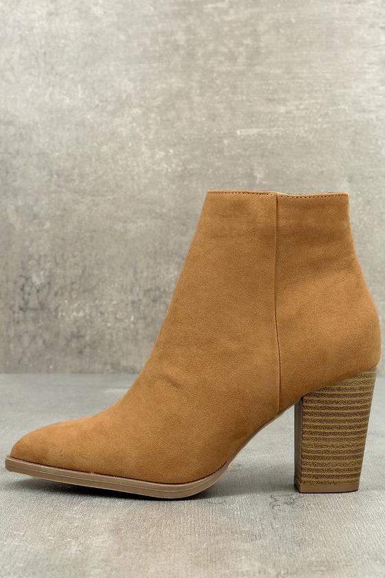 7c6955391ca7c Cute Vegan Suede Booties - High Heel Booties - Camel Booties