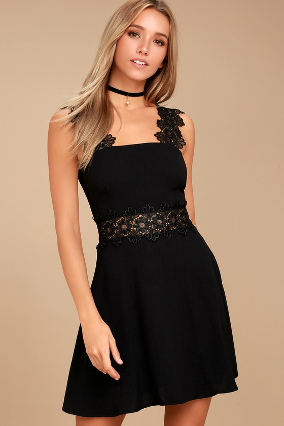 Visual Treat Black Lace Skater Dress 1