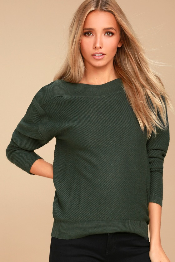 Mellow Move Forest Green Knit Sweater 2