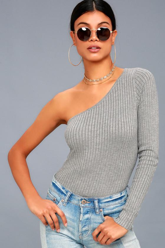 c4d4fb0d15d Chic One-Shoulder Top - Ribbed Knit Top - Grey Sweater Top