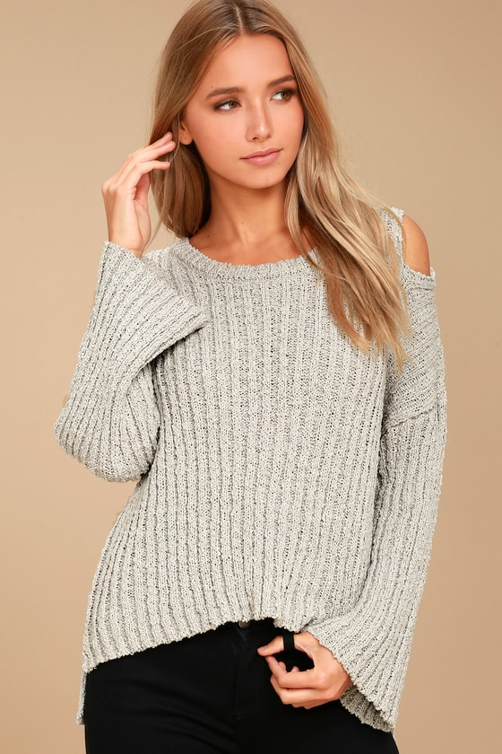 Moon River Juniper Beige Cold Shoulder Sweater