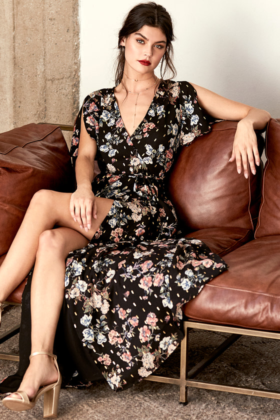 Divine Days Black Floral Print Wrap Maxi Dress 5
