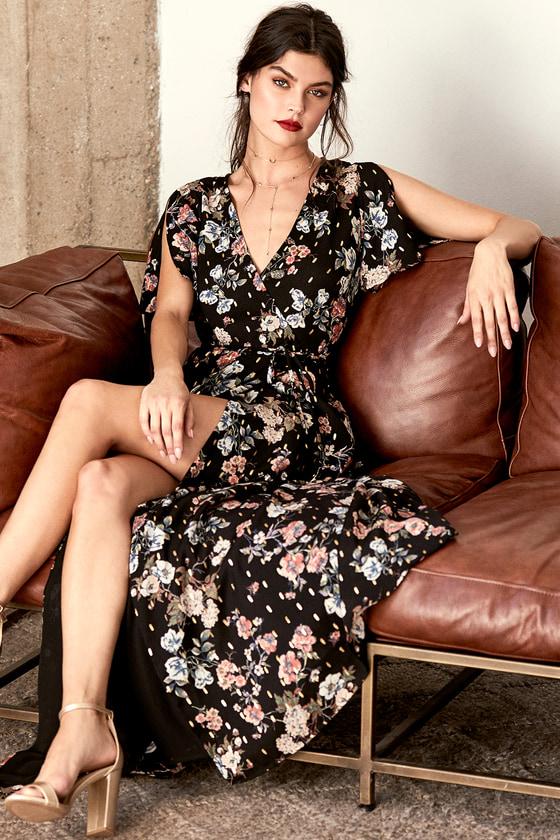 Divine Days Black Floral Print Wrap Maxi Dress 5