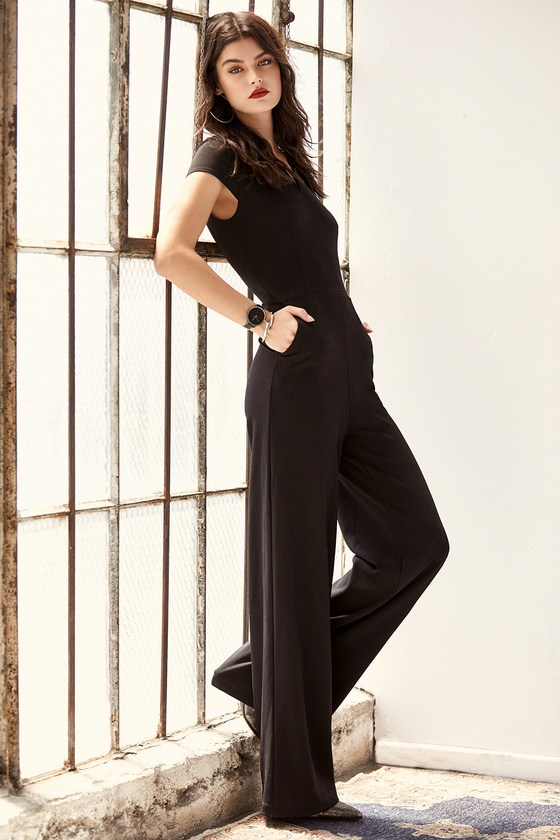 8d20e6ea2c43 Black Jumpsuit - Short Sleeve Jumpsuit - Wide-Leg Jumpsuit