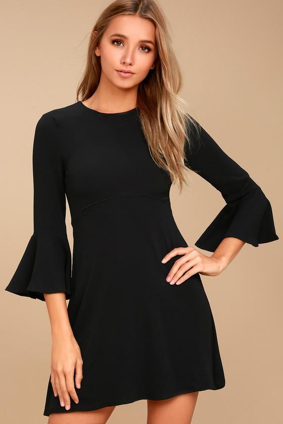 Center of Attention Black Flounce Sleeve Dress