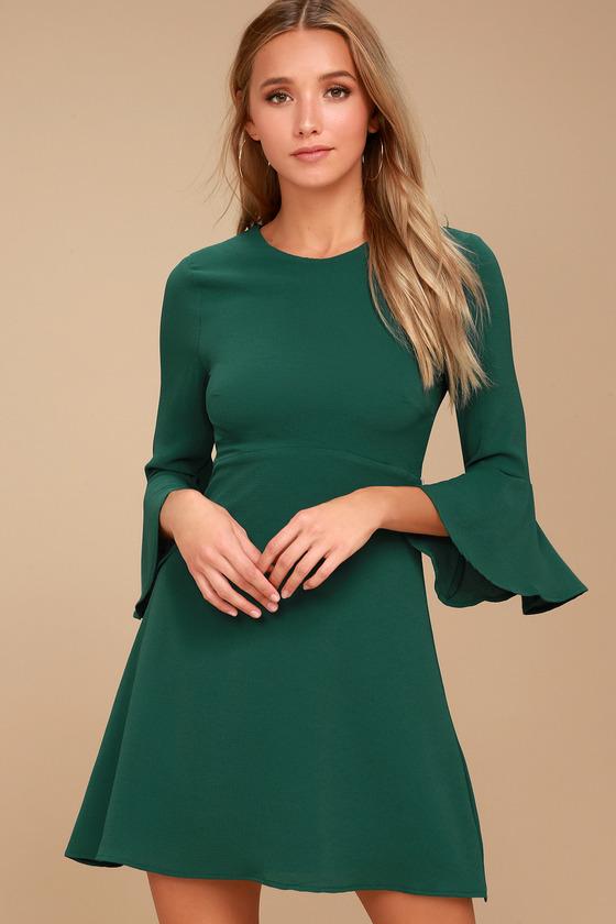 b94ef170a07 Cute Forest Green Dress - Flounce Sleeve Dress