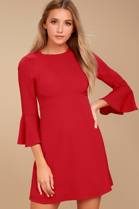 Center of Attention Red Flounce Sleeve Dress 3