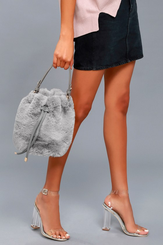 Pre-fur-ed Choice Grey Faux Fur Bucket Bag 1