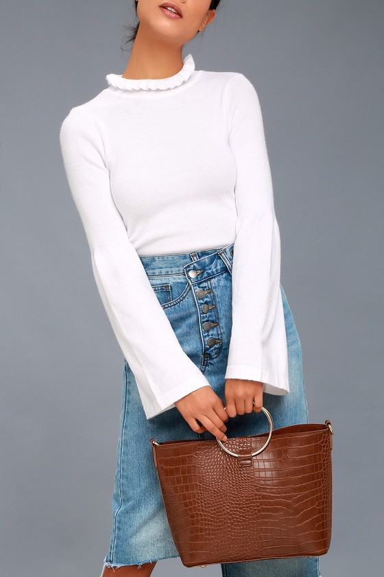 Gimme a Ring Brown Crocodile Embossed Ring Handle Tote Bag 1