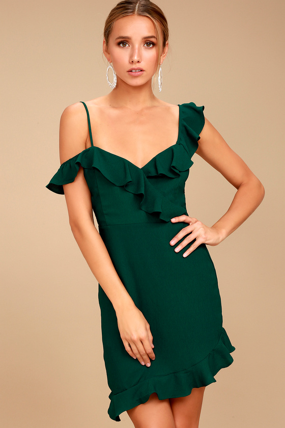 2a0ab6ceaec5 Forest Green Dress - Off-the-Shoulder Dress - Bodycon Dress