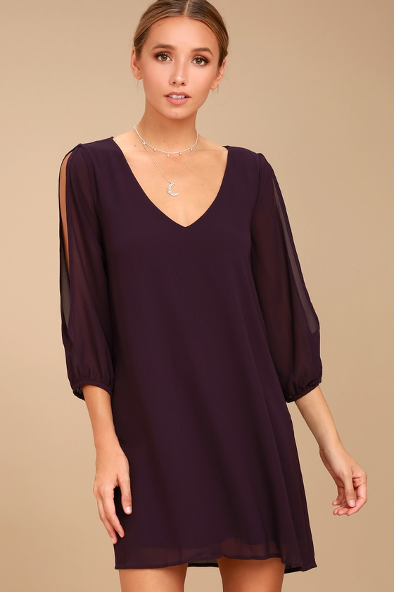 Shifting Dears Plum Purple Long Sleeve Dress 6