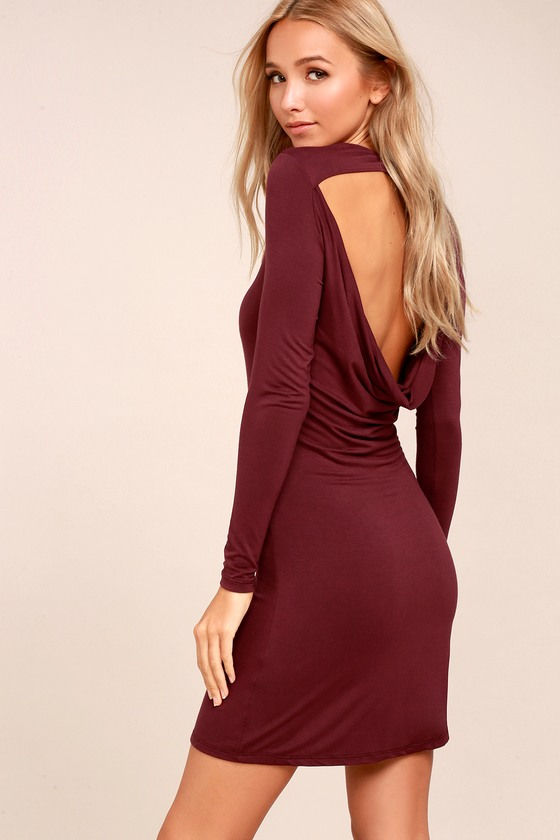 Kiss and Tell Burgundy Long Sleeve Backless Dress 1