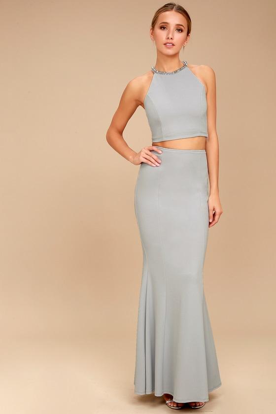 Shining Example Blue Grey Rhinestone Two-Piece Maxi Dress 2