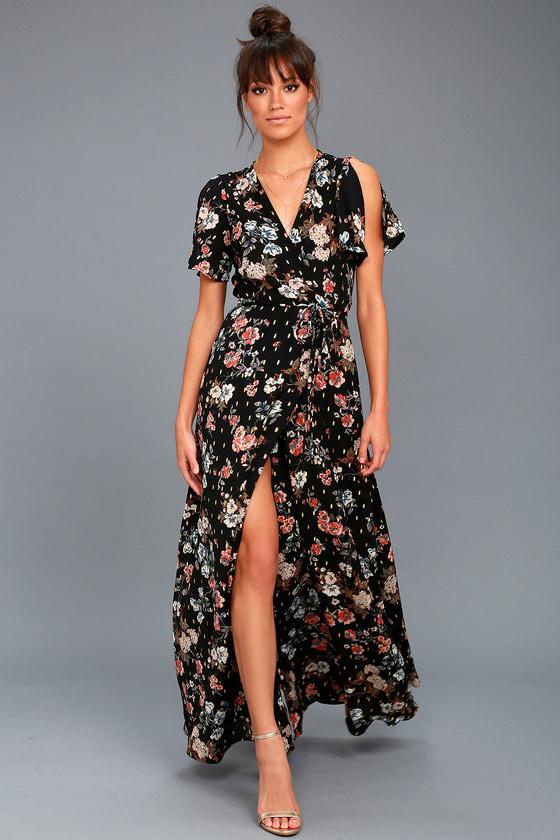 31919aa9c6b5 Cute Floral Print Dress - Black Maxi Dress - Wrap Maxi Dress
