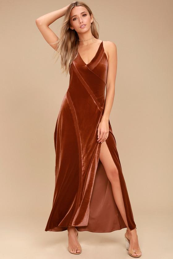 3ef8c9694235 Free People Spliced - Rust Orange Maxi Dress - Velvet Dress